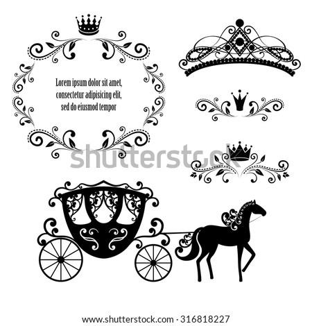 Design Elements Vintage Royalty Frame Crown Stock Vector