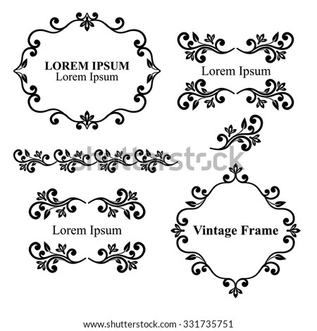 Design elements, vintage royalty frames and border in black color. Vector illustration. Isolated on white background. Can use for birthday card, wedding invitations. - stock vector