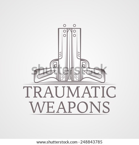 Design elements with gray vintage line style two traumatic pneumatic guns vector illustration, logo, for self defense with words Traumatic Weapons for some business or website. Logotype - stock vector
