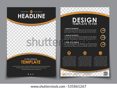 design flyers black with orange elements brochure templates with space for a photo diagrmami