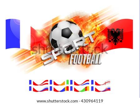 Design Football orange background, ball and text, France vs Albania Romania Cameroon cote d'ivoire Russia England Netherlands Slovakia Austria - stock vector