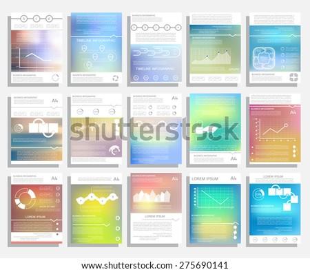 Design for business data visualization, Brochure set - stock vector