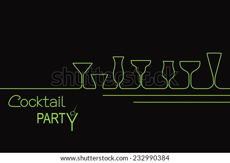 design for cocktail party invitation or bar menu with different types of cocktail glasses - Cocktail Party Invitation