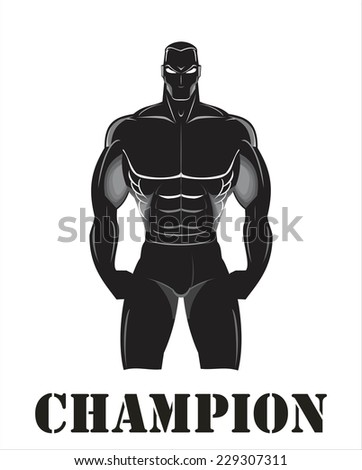Design for Gym. Bodybuilder silhouette. Muscular man. Sportsman silhouette character. Sport Fitness club creative concept. Power strength man icon. Fighter. Masculine. Fitness club Icon. Fighting Club - stock vector
