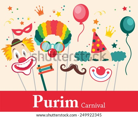 design for Jewish holiday Purim with masks and traditional props. Vector illustration - stock vector