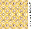 Design for seamless tiles with geometric lines and squares in brown, yellow - stock photo