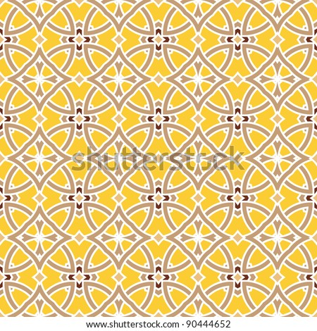 Design for seamless tiles with geometric lines and squares in brown, yellow