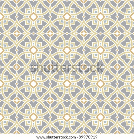 Design for seamless tiles with geometric lines and squares in grey, yellow, oker, brown - stock vector