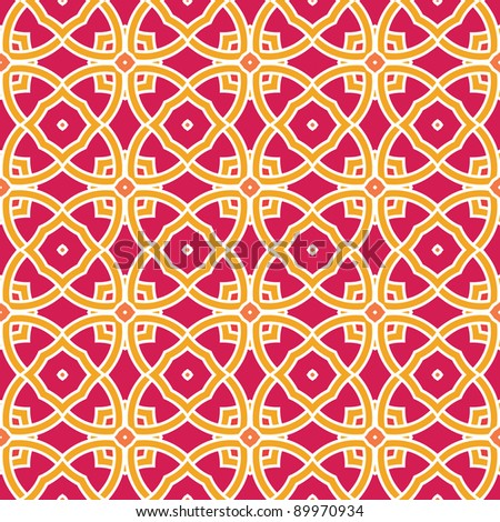 Design for seamless tiles with geometric lines and squares in pink, yellow, orange, red - stock vector