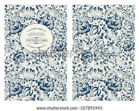 Design for you personal cover. Rose flowers. Floral theme for book cover. Flower texture illustration in style of engraving. Ornate of floral pattern in Gzhel style. Vector illustration.  - stock vector