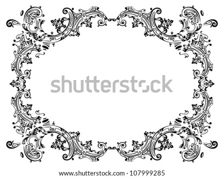 Design frame with black swirling decorative elements ornament