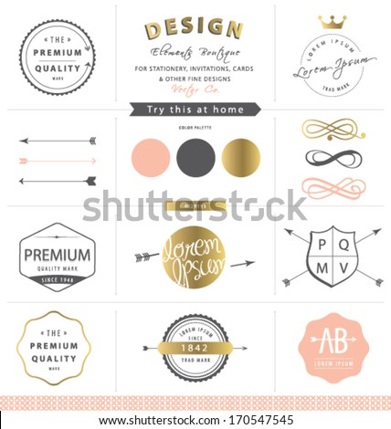 DESIGN GRAPHIC ELEMENTS. GOLD BRAND IDENTITY. For graphic design projects print , web, blog. Use as labels, stickers, brand and identity design such as logo. - stock vector