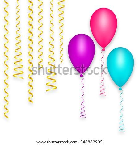 Decoration Balloon Set Blue Pink Purple Stock Vector 348758360