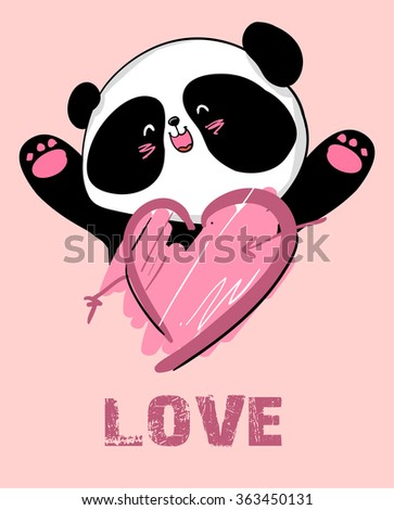 design greeting card for valentine's day. panda. heart. black and white bear. vector. illustration.