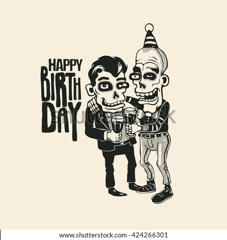 "Design ""Happy Birthday"" with two cartoon characters with glasses of wine. vector illustration."