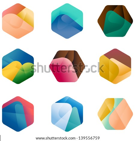 Design hexagonal vector logo template.  Colorful app icon set.  Colorful pattern. - stock vector