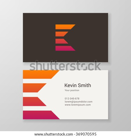 Design icon letter K stripes business card template. Layered, editable. - stock vector