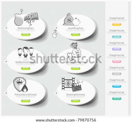 Design icons set with stickers - stock vector