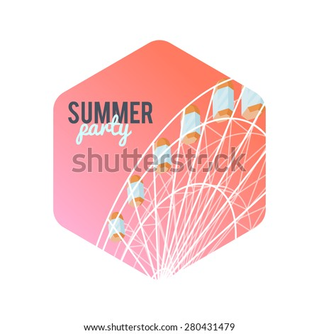 Design Illustration Concepts Summer Party with Style Typographic. Icon Attractions. Vector Illustration. Summer Design. Flat Elements. Concepts Web Banner and Printed Materials. Gradient Background. - stock vector
