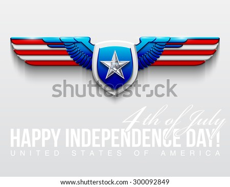 """design illustration vector steel fenders painted in the colors of the American flag with a white star of glass on board and an inscription """"4th of July. Happy Independence Day United States of America - stock vector"""