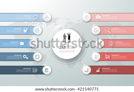 Design infographic template 10 options, can be used for workflow layout, diagram, number options, graphic or website layout. - stock vector
