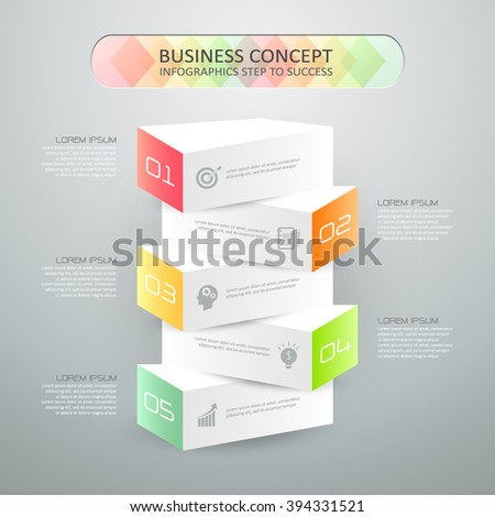 Design infographic template 5 steps, can be used for workflow layout, diagram, number options, graphic or website layout. - stock vector