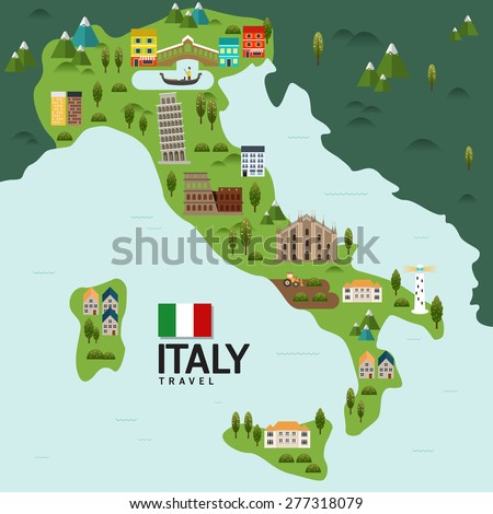 Design Italy and Milan Rome Travel and Landmark Concept.Vector - stock vector