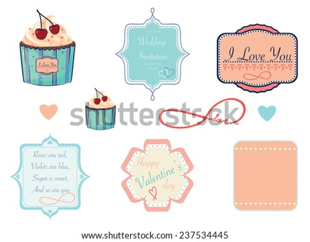 Design labels and cupcake on love, valentine, wedding theme. vector eps 10 - stock vector
