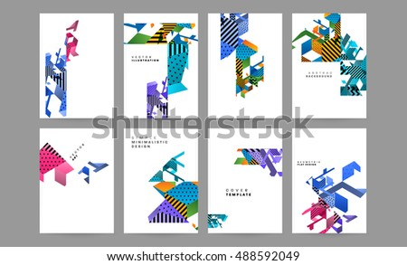 Memphis Geometric Background Template Covers Flyers Stock Vector ...