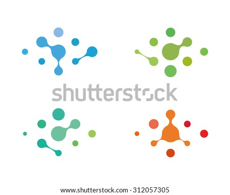 Design logo element. Abstract water molecule vector template set. Computer science and engineering concept icons. - stock vector