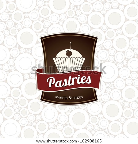 Design menu and label for the store or coffee shop pastries. - stock vector