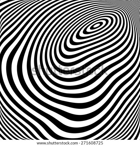 Design monochrome ellipse movement illusion background. Abstract stripe torsion texture. Vector-art illustration - stock vector