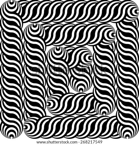Design monochrome labyrinth pattern. Abstract interlaced textured background. Vector art