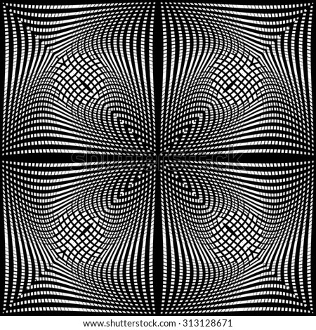Design monochrome movement illusion background. Abstract grid torsion backdrop. Vector-art illustration. No gradient - stock vector