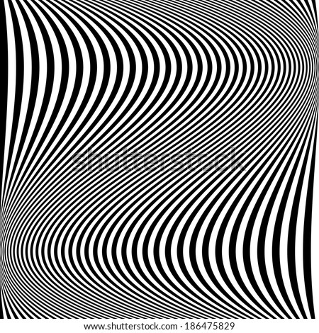 Design monochrome movement illusion background. Abstract striped lines distortion backdrop. Vector-art illustration - stock vector