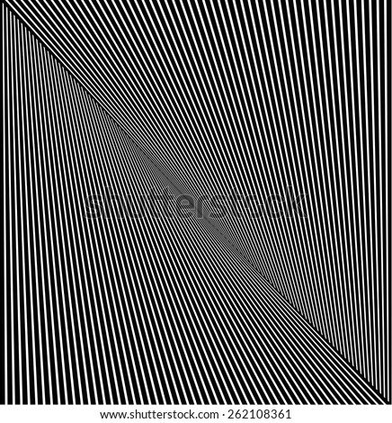 Design monochrome movement illusion background. Abstract striped lines distortion twisted backdrop. Vector-art illustration - stock vector