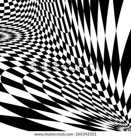 Design monochrome movement illusion checkered background. Abstract distortion twisted backdrop. Vector-art illustration - stock vector