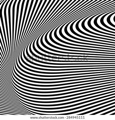 Design monochrome textured illusion background. Abstract striped torsion backdrop. Vector-art illustration - stock vector