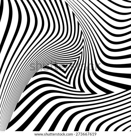 Design monochrome triangle movement illusion background. Abstract striped distortion geometric backdrop. Vector-art illustration. No gradient - stock vector