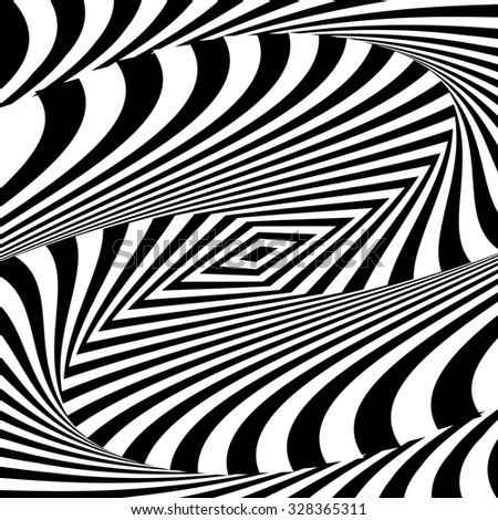 Design monochrome vortex movement illusion background. Abstract striped distortion backdrop. Vector-art illustration - stock vector