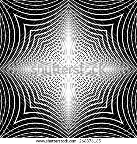 Design monochrome warped grid backdrop. Abstract latticed textured background. Vector-art illustration. No gradient - stock vector