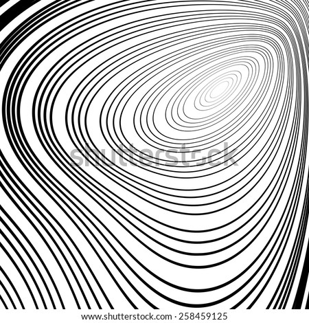 Design monochrome whirl ellipse movement background. Abstract stripy warped twisted backdrop. Vector-art illustration. No gradient - stock vector
