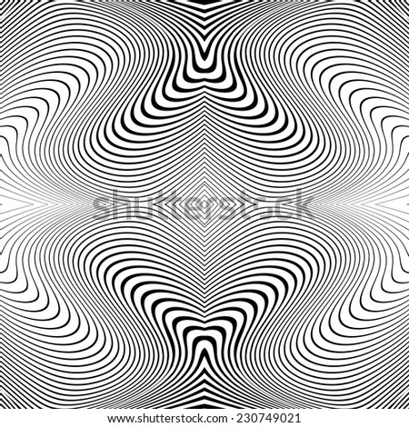 Design monochrome whirl lines motion background. Abstract striped distortion twisted backdrop. Vector-art illustration. No gradient - stock vector