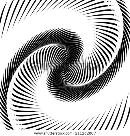 Design monochrome whirl movement background. Abstract stripy warped twisted backdrop. Vector-art illustration - stock vector