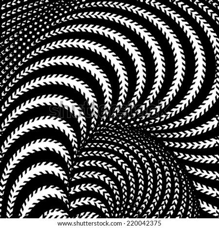 Design monochrome whirl movement illusion background. Abstract stripe torsion twisted backdrop. Vector-art illustration - stock vector
