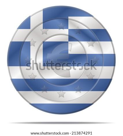 design of a euro coin with the Greece flag  - stock vector