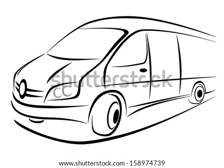 Design of a white van in strong perspective view - stock vector