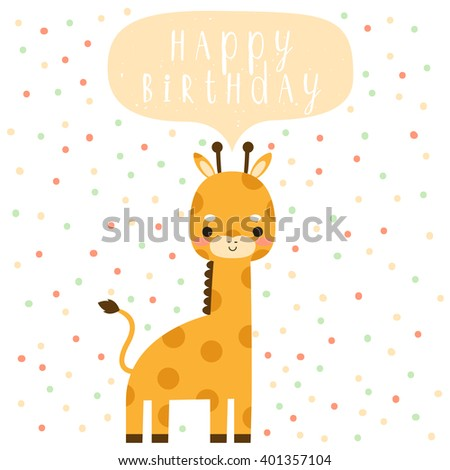 Design birthday card cute cartoon baby stock vector 401357104 design of birthday card with cute cartoon baby giraffe with happy birthday text message on polka bookmarktalkfo Image collections