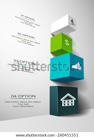 Design of business infographic in 3D - stock vector
