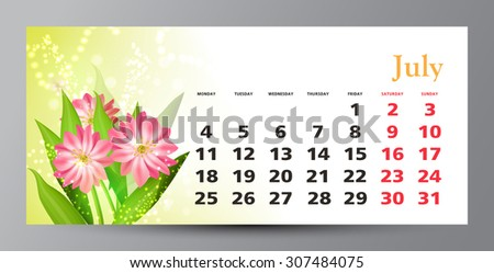 Design of calendar 2016. July.